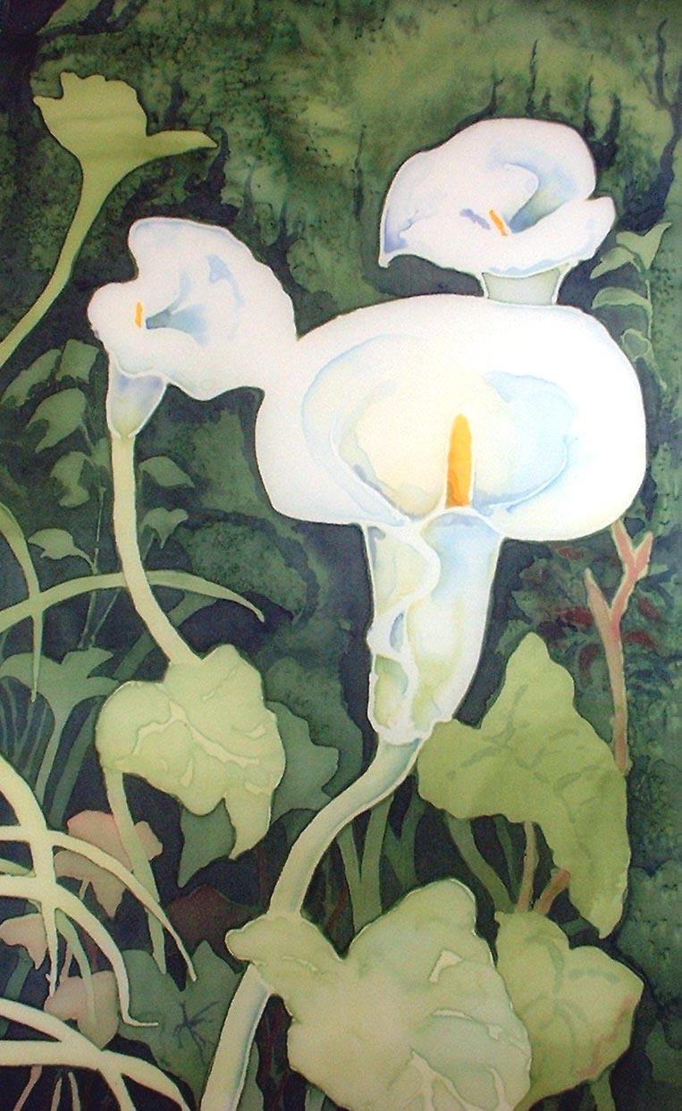 Patricia Ferns 'Arum Lilies' painting on silk  41x63 cm  patriciafernsnow@yahoo.co.uk