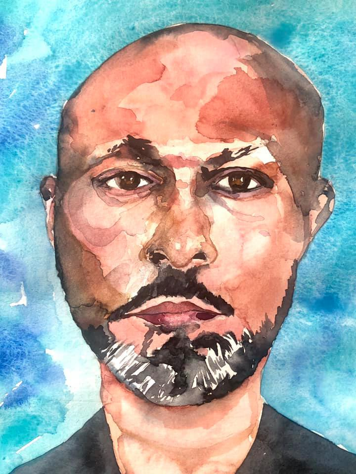 Akram-Khan-by-Bee-Inch-watercolour-8-in-x-8in