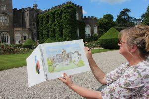 New TAS member Jane Christian painting Powderham in Watercolour