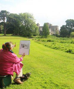 Anna Grayson sketching Powderham Castle (photo by Des Maxwell Clark) (1)