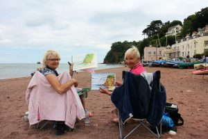 Barbara Armstrong and Kath Lorem's beautiful paintings of the Ness from Shaldon Beach