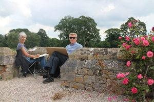 La Vie en Rose as Jane and Ray Gratton sketch by the rose garden (1)
