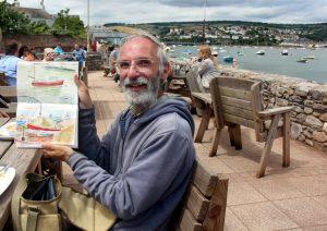 Simon Wakfer's  studies of boats outside the Clipper in Shaldon